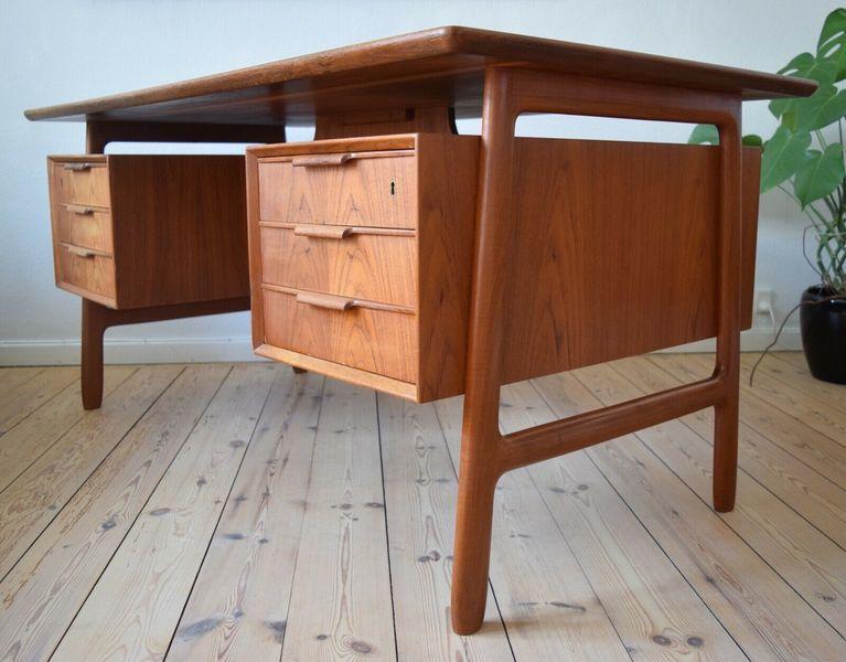 Mid Century Danish Model 75 Executive Teak Desk By Gunni Omann 1960s.