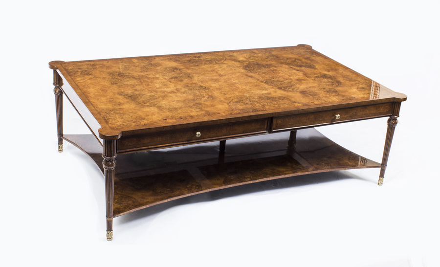 Elegant Burr Walnut Coffee Table With Two Drawers photo 1