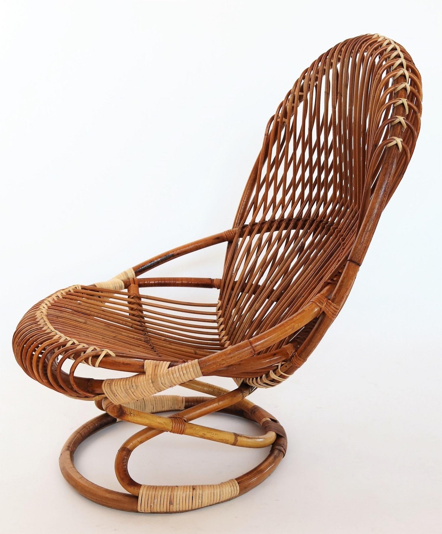 Italian Midcentury Bamboo Wicker Chair By Giovanni Travasa For Bonacina 1950s