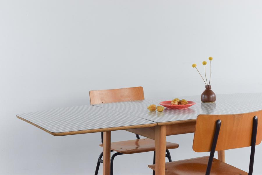 Vintage Frank Guille For Kandya Formica Gingham Drop Leaf Kitchen Table