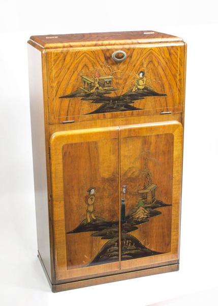 Antique Art Deco Chinoiserie Cocktail Cabinet