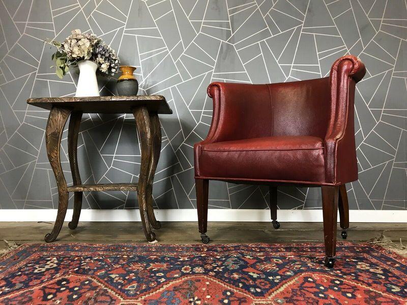 Stunning Antique Tub Chair Red Vintage Retro Armchair Mid Century Wooden Legs