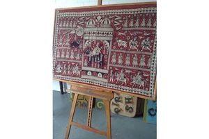Thumb extra arge batik indonesien printed on cloth wall art 0