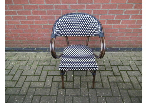 French Style Wicker Weave Chair Black & White