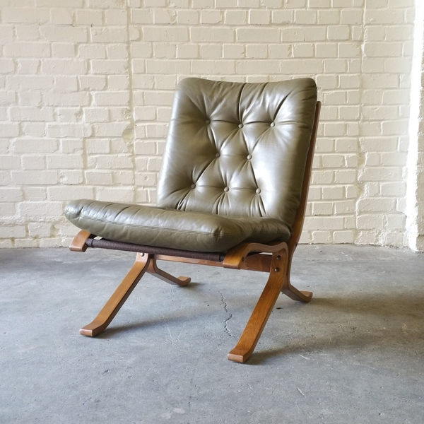 Sale Norwegian Light Olive Green Leather Siesta Easy Chair By Ingmar Relling Westnofa 1970s