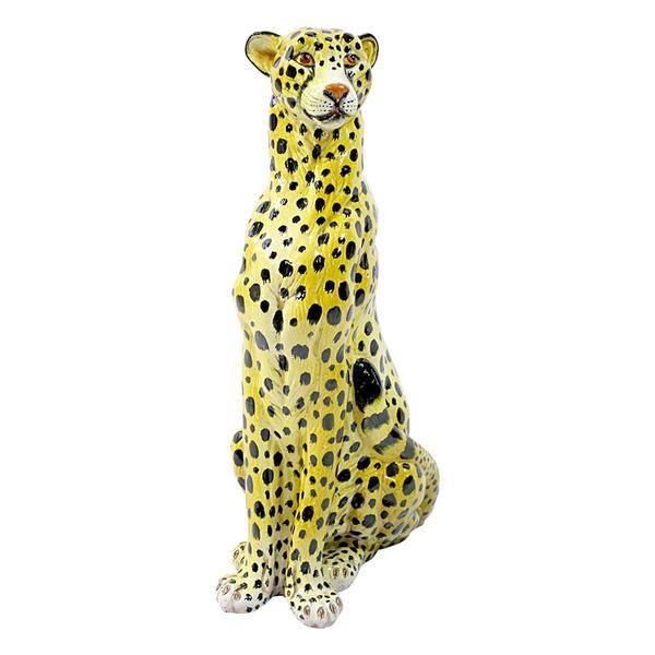 Midcentury Sitting Cheetah Made Of Molded Ceramic, Marked X.My