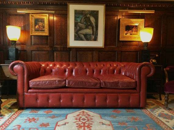 Antique Style Three Seater Chesterfield Sofa Red Leather Button Back