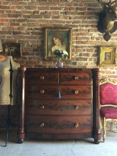 Antique Mahogany Chest Of Drawers Dresser Victorian 19th Century