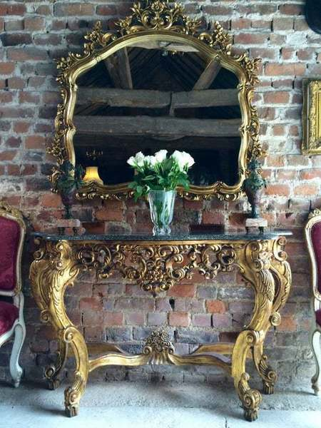 Antique French Style Gilded Marble Top Console Table With Mirror
