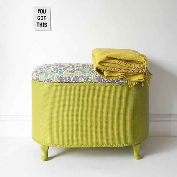 Vintage Floral Painted Lloyd Loom Style Flower Blanket Toy Box Ottoman