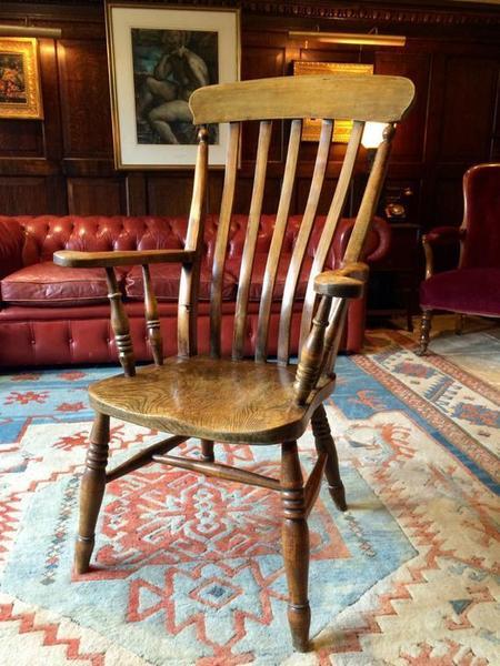 Antique Windsor Chair Elm Beech Armchair 19th Century Victorian