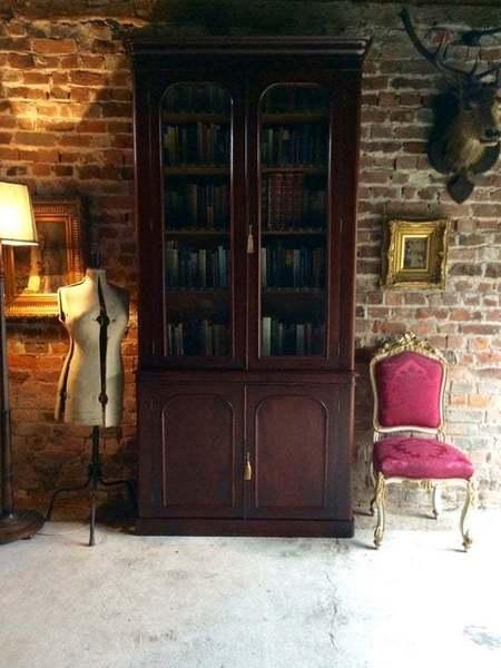 Victorian 19th Century Mahogany Two Door Bookcase Gothic