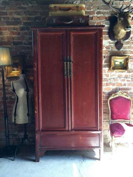 Antique Oriental Chinese Red Lacquer Hall Cabinet Cupboard