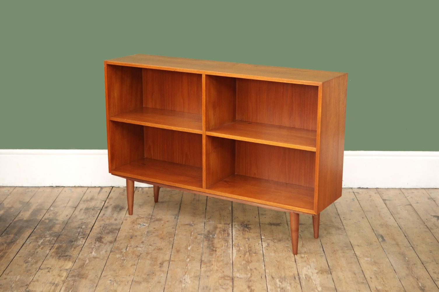 Horizontal Danish Mid Century Teak Bookcase