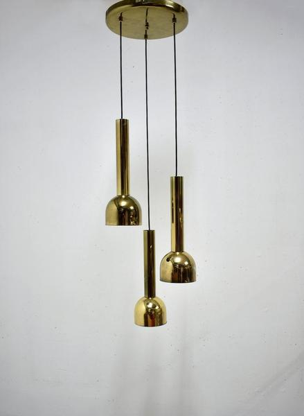 Vintage Hanging Lamp With 3 Cascading Pendant Lights Br Plated Metal Mid Century 1970s Cascade Light