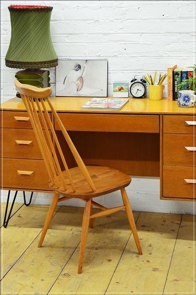 Vintage Ercol Dining Chair Goldsmith Blonde Elm Beech