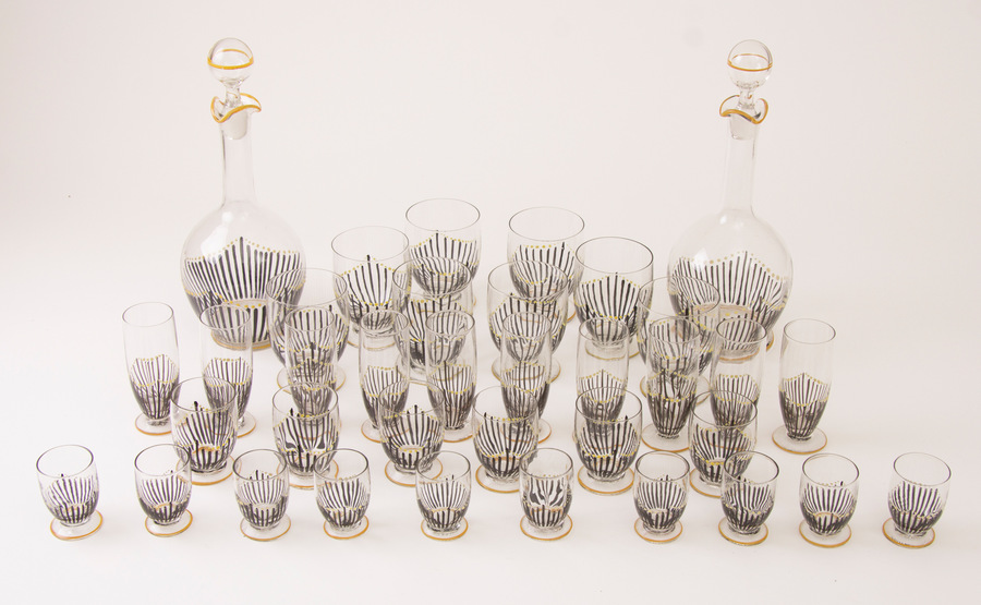 Suite Of Art Deco Hand Enamelled Glasses With Decanters