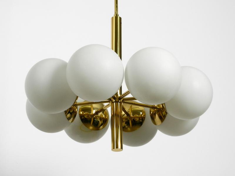Beautiful 1960s Space Age Brass Ceiling Lamp With 8 Glasses By Kaiser Leuchten