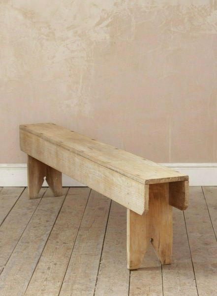 Antique Vintage Rustic Mid Century Stripped Pine Bench
