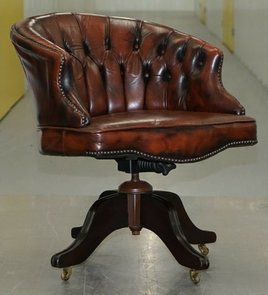 Swell Nice 1967 Stamped Brown Leather Chesterfield Brown Leather Captains Office Chair Interior Design Ideas Inesswwsoteloinfo