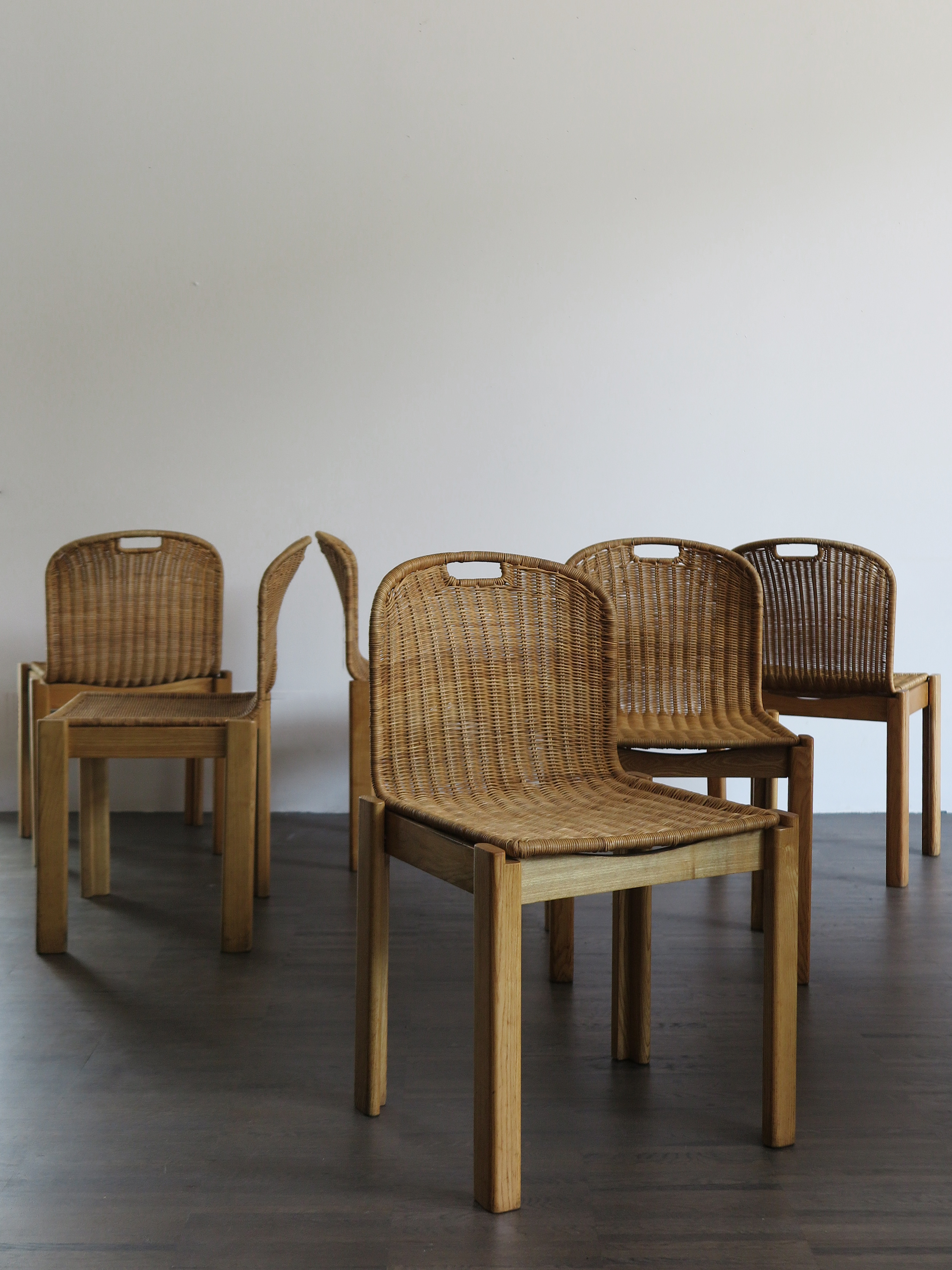 Italian Wicker Dining Chairs Set, 1960s