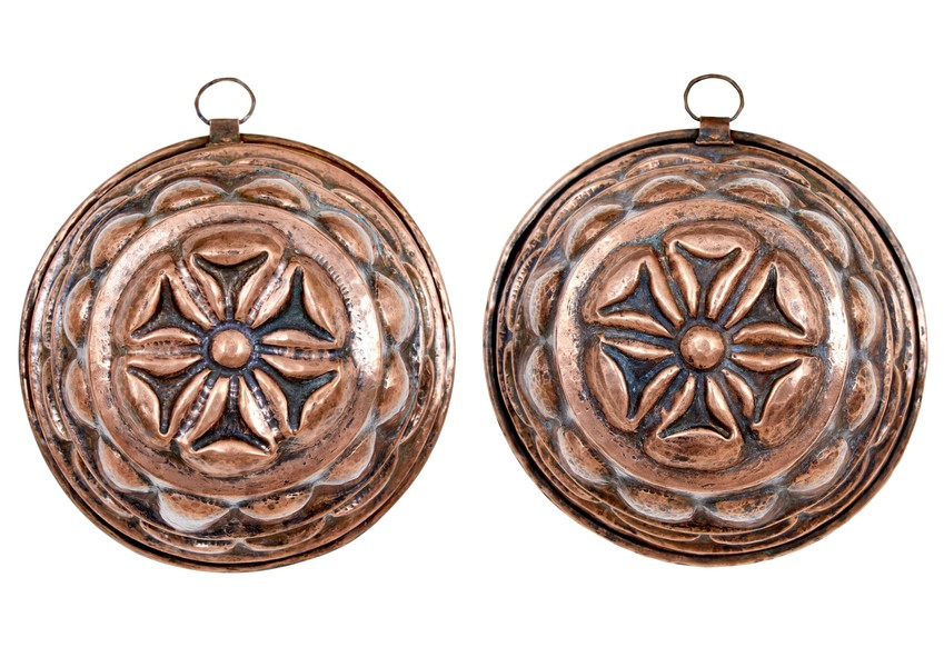 Pair Of Victorian Copper Jelly Moulds