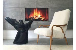 Thumb vintage danish white sheepskin fluffy furry easy fire chair armchair 0