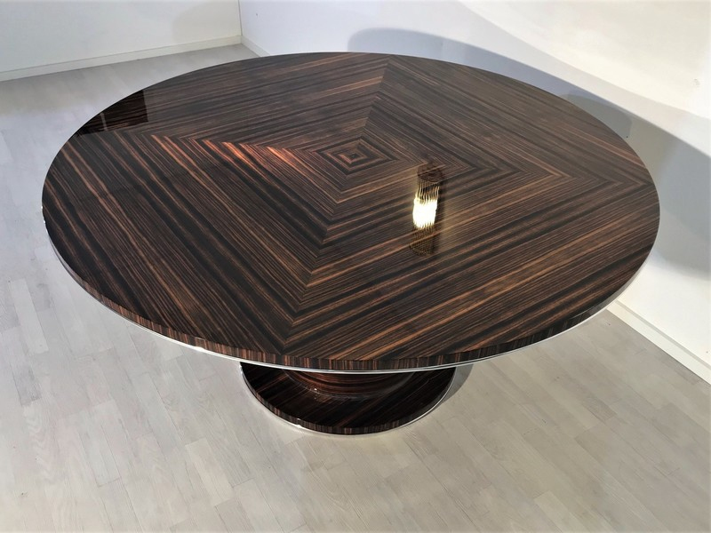 Round Art Deco Style Macassar Dining Table Vinterior