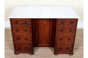 Thumb antique marble top desk twin pedestal kneehole writing desk mahogany victorian 0