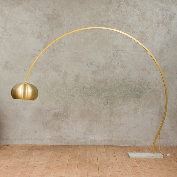 Italian Arc Floor Lamp With White Carrera Marble Base