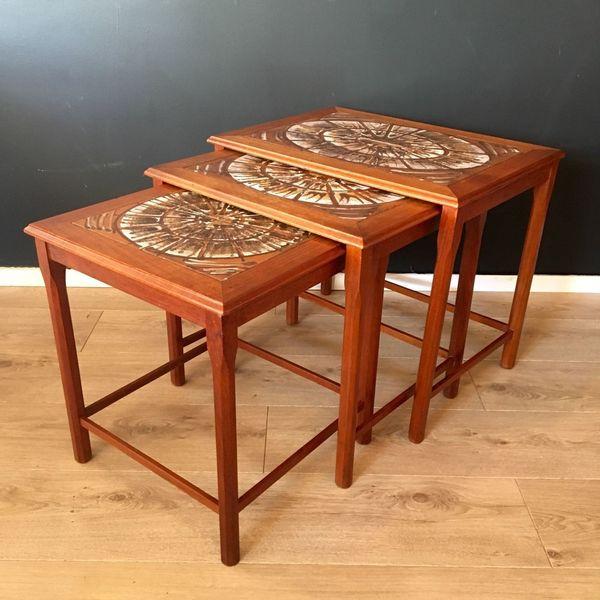 Vintage Danish Teak Nest Of 3 Tiled Top Tables By Mobelfabrikken Toften 1960's