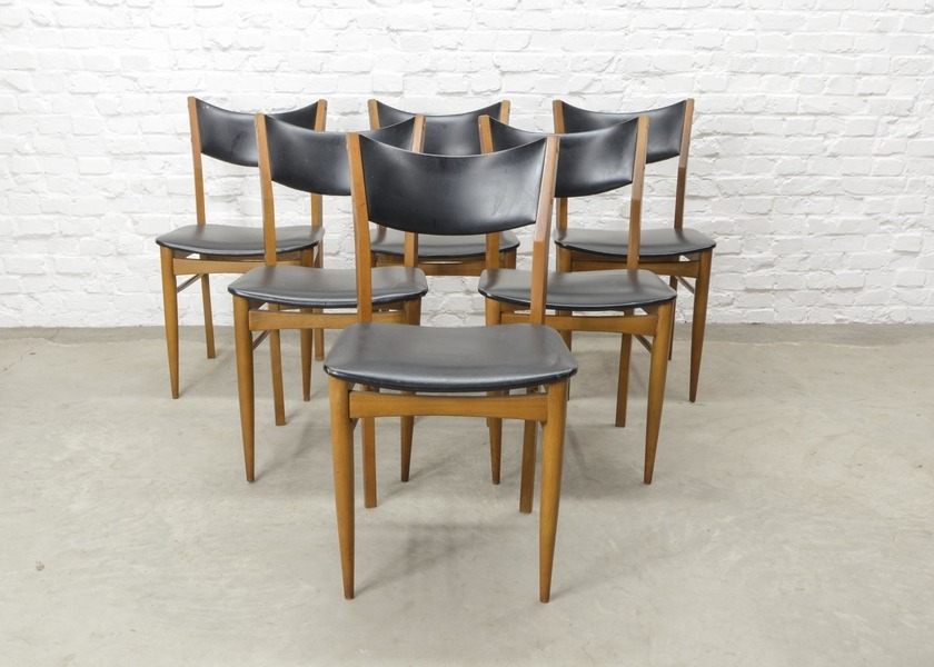 Set Of Six Mid Century Design Solid Wood Dining Chairs With Black Leatherette Backrest And Seating 1960s