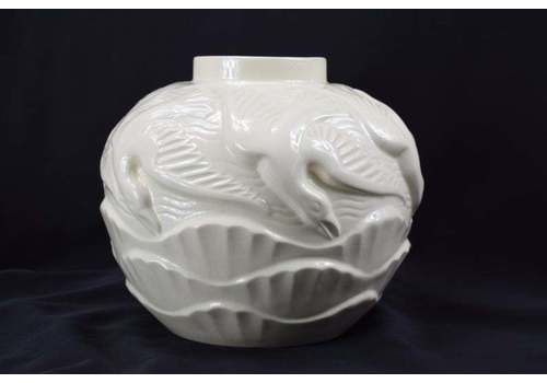 Charles Catteau For Boch Freres Keramis Vase 'Mouettes' Seagulls