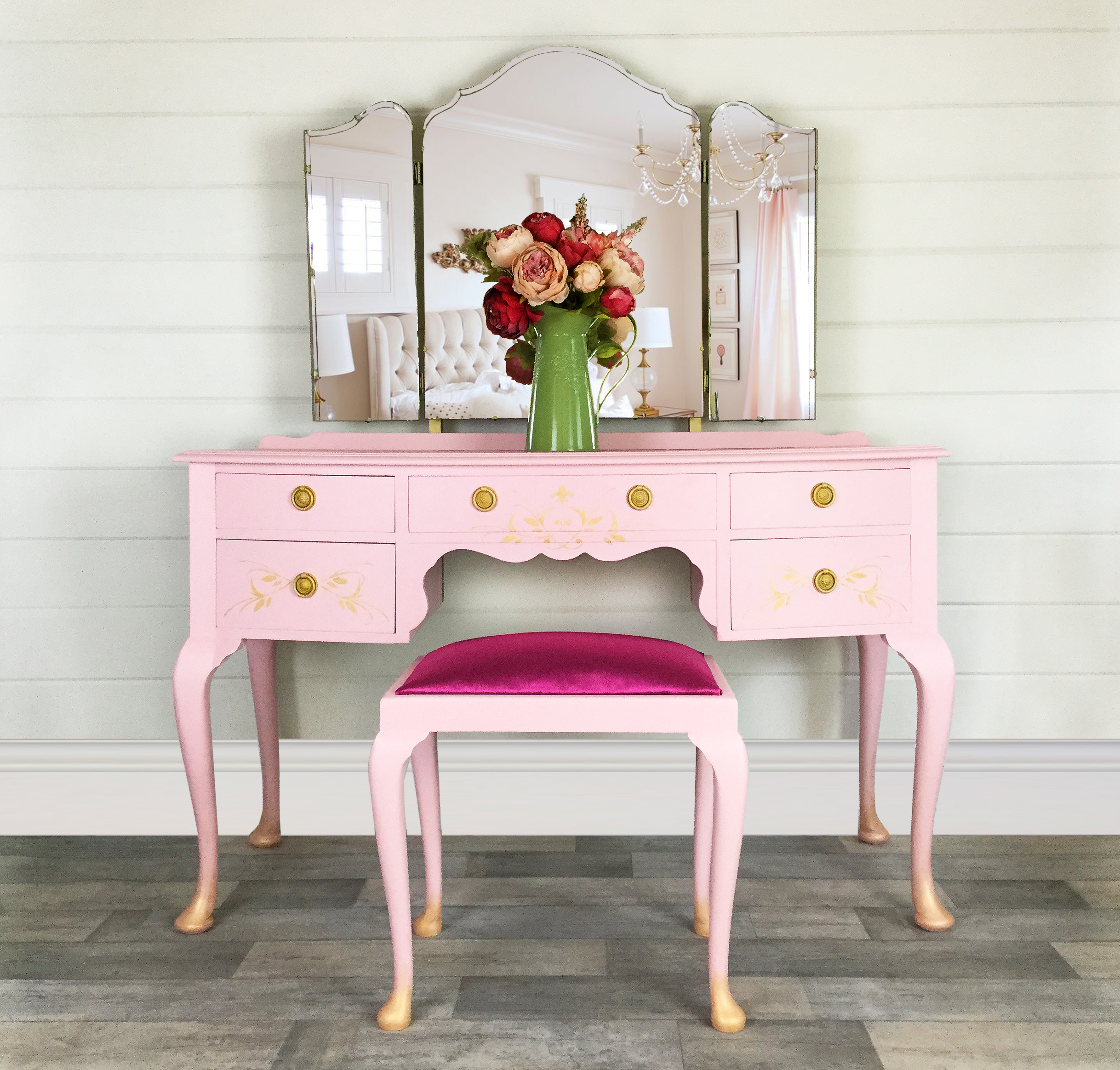 Pink And Gold Vintage Dressing Table With Stool Girls Dressing Table Bedroom Furniture Vinterior