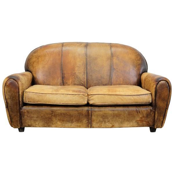 Pleasant Vintage Dutch Cognac Leather 2 Seat Sofa Machost Co Dining Chair Design Ideas Machostcouk