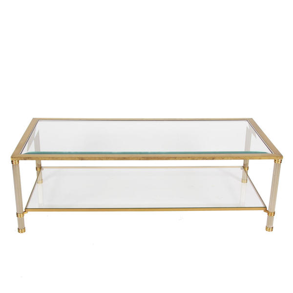 Two Tier Brass Glass Coffee Table Vinterior