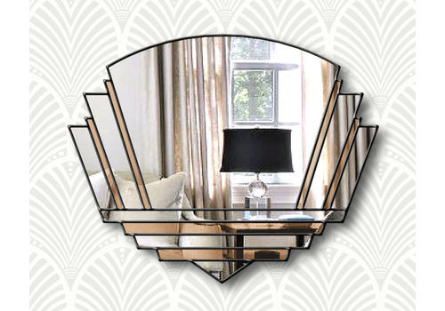 Phillipe Original Handcrafted Art Deco Wall Mirror In Bronze With A Black Trim