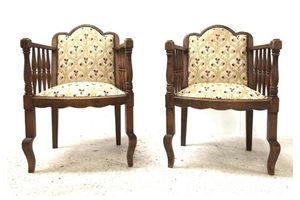 Thumb pair of antique early 20th century art nouveau library chairs rustic french oak reading armchairs 0