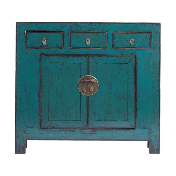 Vintage Chinese 3 Drawer 2 Door Painted Cabinet From Shandong photo 1