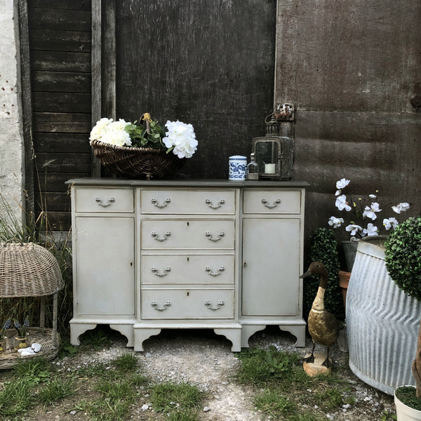 Swedish Gustavian Country Two Toned Grey Hand Painted Sideboard / Hall Cabinet / Cupboard Handmade
