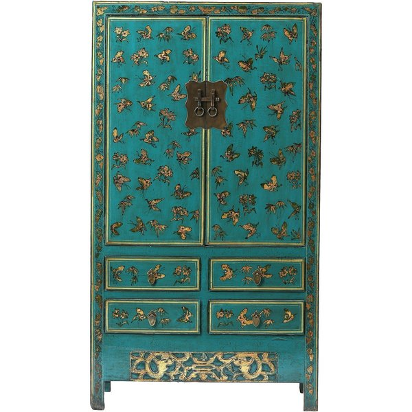 Vintage Chinese Blue Wardrobe From Shanxi photo 1