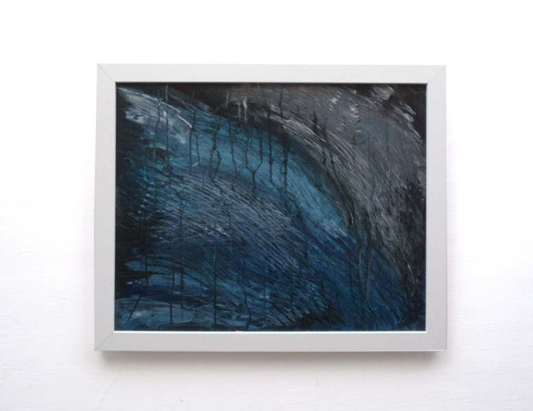 Dark Abstract Painting Acrylic On Canvas Framed Ready To Hang Art Black Dark Blue Abstract