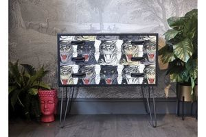 Upcycled Mid Century Vintage Retro G Plan Chest Of Drawers Gucci Tiger Decoupage Industrial Hairpin Legs, Tv Stand photo