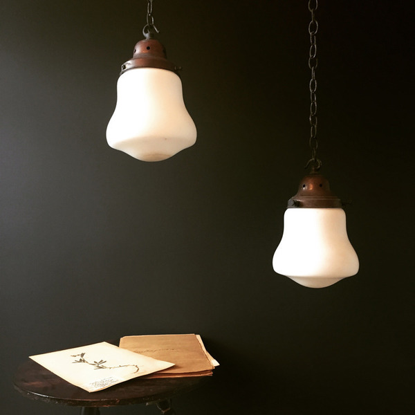 Pair Of Victorian Opaline Lights