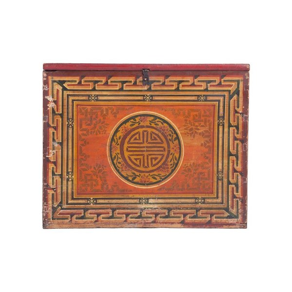 Vintage Mongolian Chest With Longevity Symbol