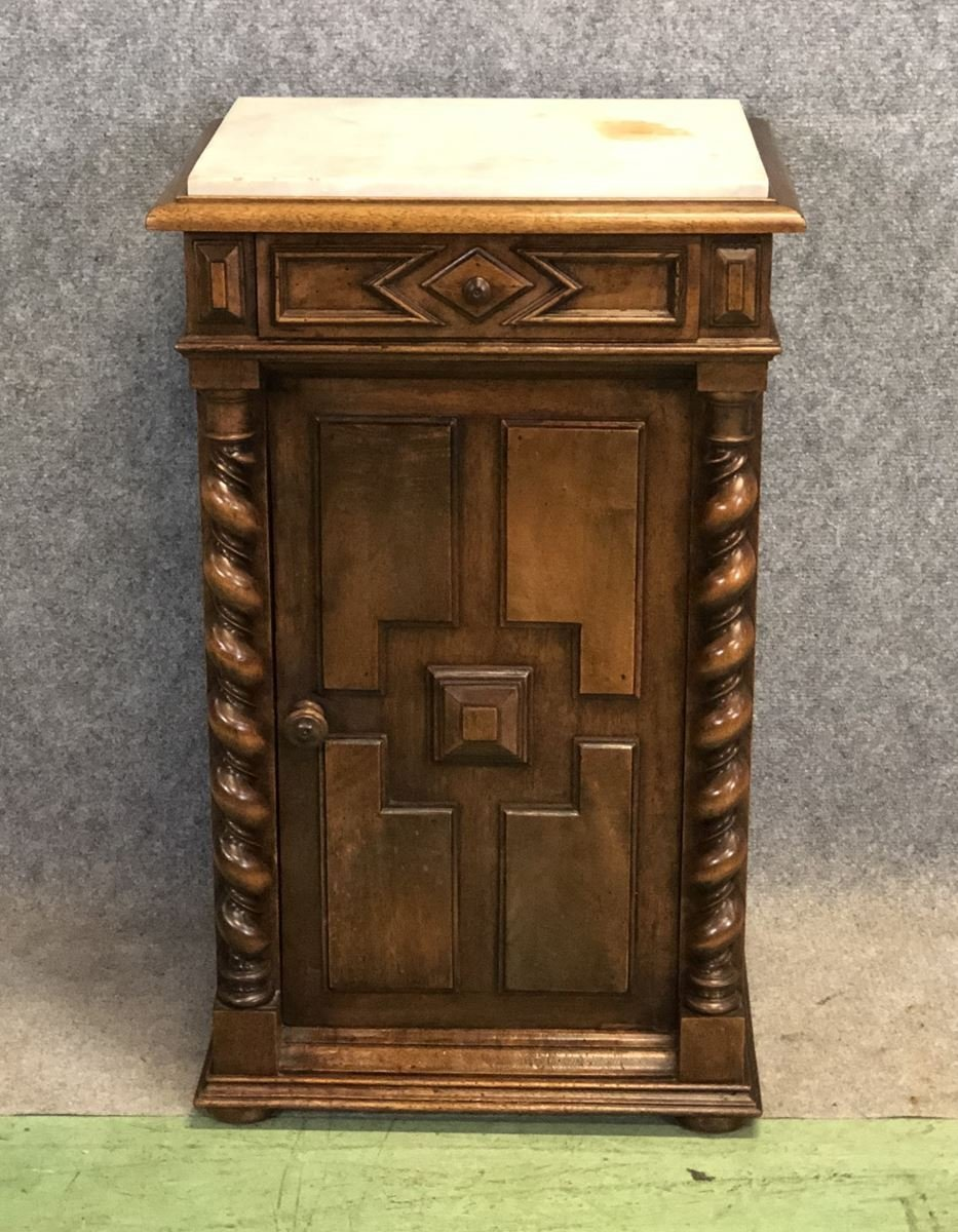 Antique Walnut Nightstand With Marble Top