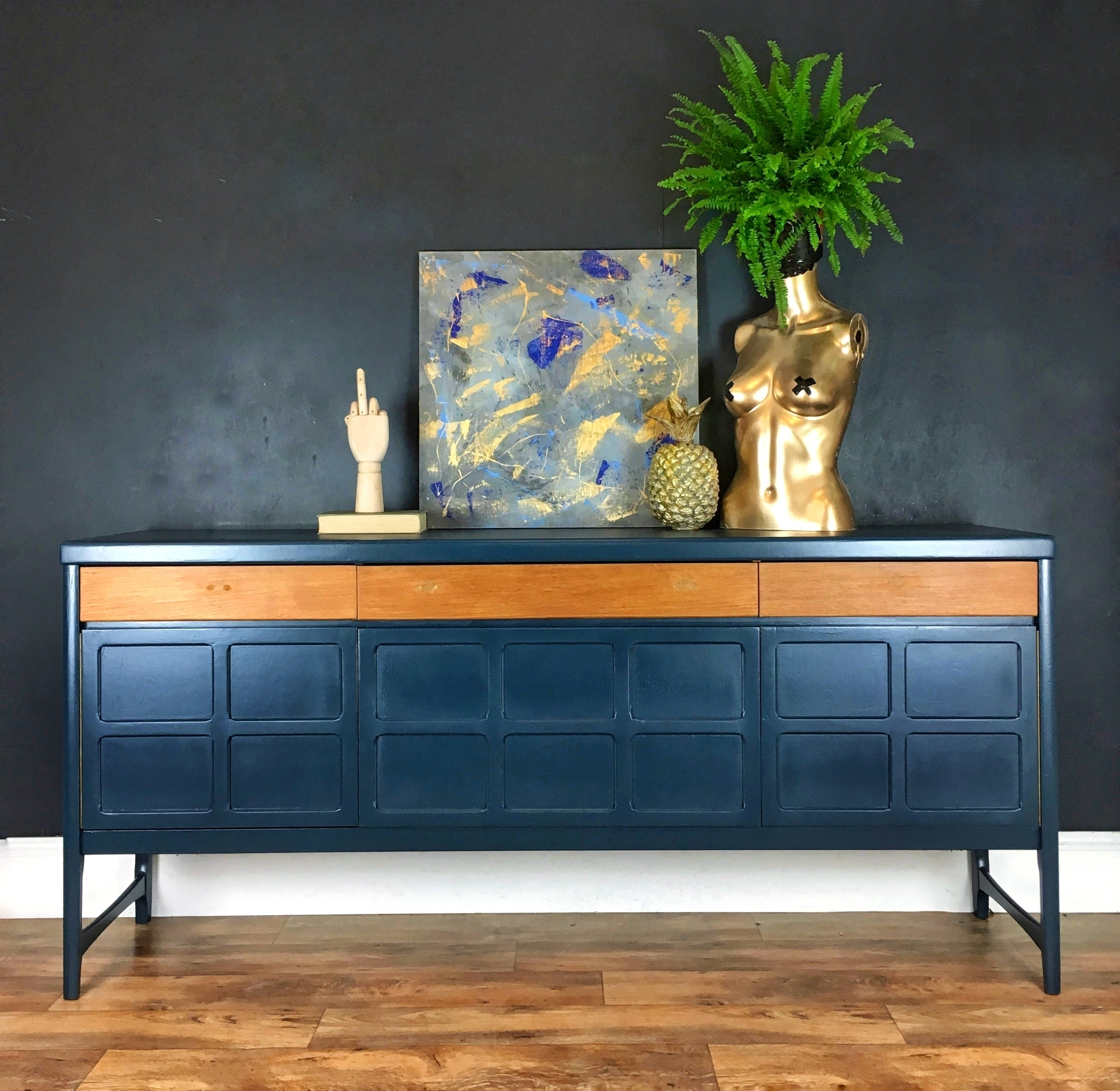 Farrow And Ball Hague Blue.Nathan Sideboard Painted In Farrow And Ball Hague Blue