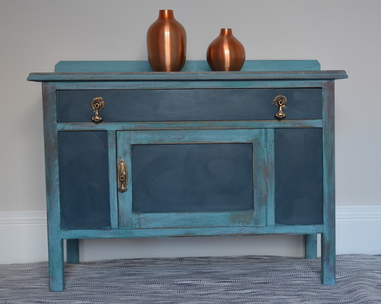 Vintage Weathered Blue Cabinet