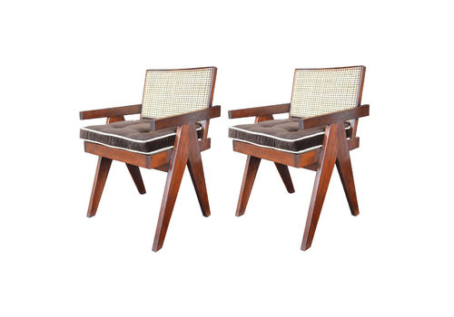 Pair Of Teak Chairs In The Style Of Pierre Jeanneret
