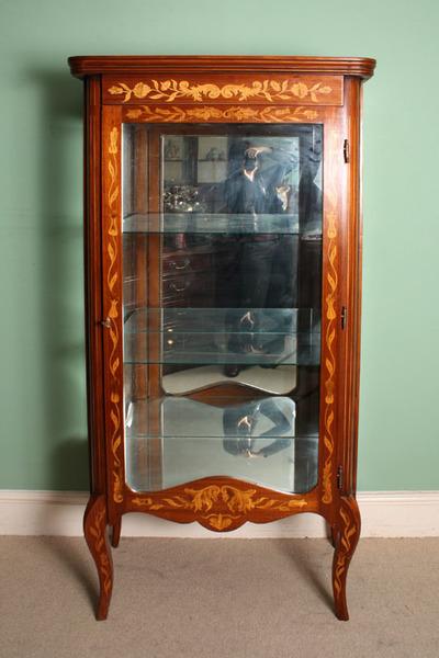 Vintage Dutch Marquetry Mahogany Display Cabinet